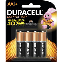 DURACELL COPPERTOP ALKALINE AA BATTERY PACK 4