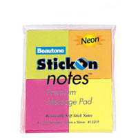 STICK ON NOTES 50 SHEETS 38 X 50MM NEON ASSORTED PACK 4