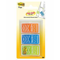 POST-IT 682-SH-OBL SIGN HERE FLAGS ORANGE/BLUE/LIME PACK 60