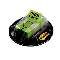 POST-IT 680-HVSD MESSAGE FLAG DESK GRIP DISPENSER 'SIGN AND DATE' BRIGHT GREEN