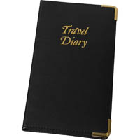 CUMBERLAND TRIP BOOK PU STITCHED 210 X 135MM BLACK WITH GOLD EDGES AND CORNERS