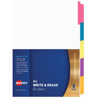 AVERY 85600 DIVIDER MANILLA REUSABLE 5 TAB A4 WHITE