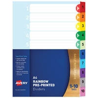 AVERY 88710 DIVIDER PLASTIC 1-10 INDEX TAB A4 RAINBOW