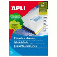 APLI 1264 GENERAL USE LABELS SQUARE CORNERS 2UP 210X148.0MM A4 WHITE 100 SHEETS