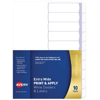 AVERY 930171 L7455-10 DIVIDER EXTRA WIDE PRINT & APPLY 1-10 TAB WHITE