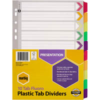 MARBIG DIVIDER REINFORCED MANILLA 10-TAB A4 FLUORO ASSORTED