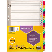MARBIG INDEX DIVIDER REINFORCED MANILLA A-Z TAB A4 FLUORO ASSORTED