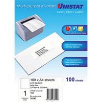 UNISTAT 38940 MULTIPURPOSE LABEL 1UP 297 X 210MM WHITE PACK 100