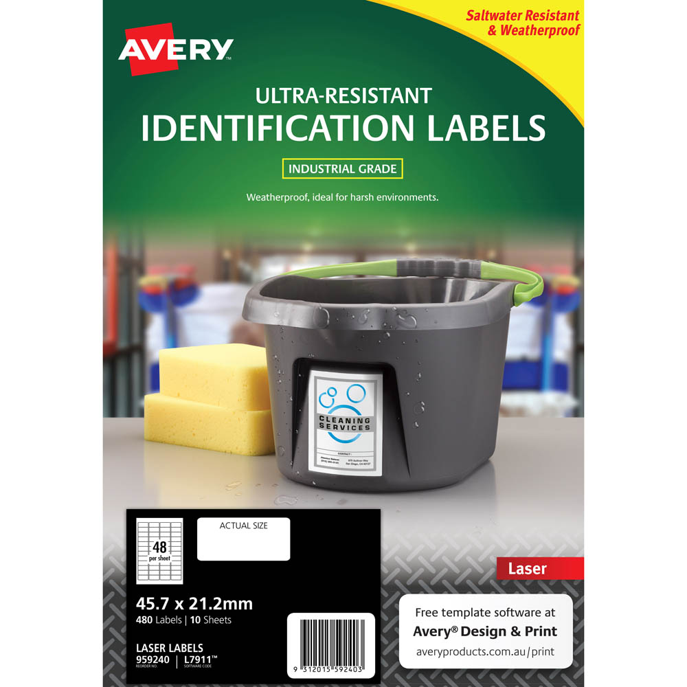 Image for AVERY 959240 ULTRA-RESISTANT OUTDOOR LABELS 45.7 X 21.2MM WHITE PACK 10 from Connelly's Office National