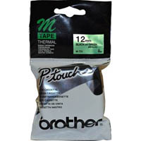 BROTHER M-731 NON LAMINATED LABELLING TAPE 12MM BLACK ON GREEN