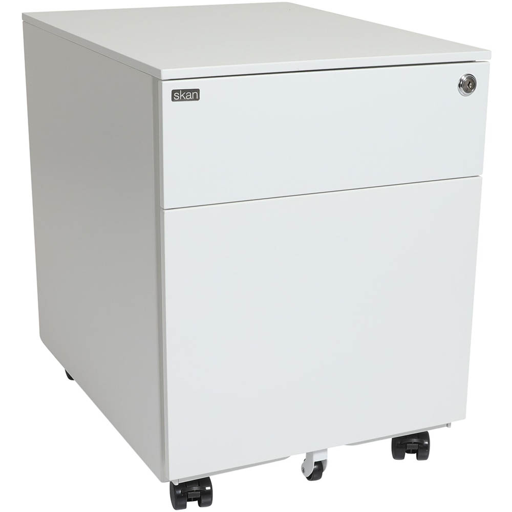 Image for SKAN SIT-STAND MOBILE PEDESTAL 1 SHALLOW AND 1 FILE DRAWER 510 X 520 X 390MM WHITE POWDERCOAT from Mitronics Corporation