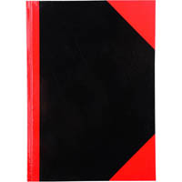 BLACK AND RED NOTEBOOK CASEBOUND RULED 100 LEAF A6