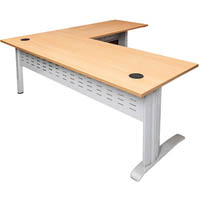 RAPID SPAN DESK AND RETURN METAL MODESTY PANEL 1800 X 700MM / 1100 X 600MM BEECH/WHITE