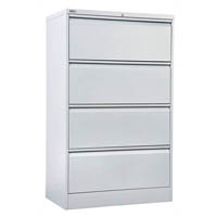 GO LATERAL FILING CABINET 4 DRAWER 1321 X 900 X 473MM SILVER GREY