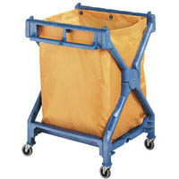 OATES JANITOR SCISSOR TROLLEY WITH BAG YELLOW/BLUE