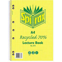 SPIRAX 814 LECTURE BOOK 7MM RULED 7 HOLE PUNCHED 70% RECYCLED SPIRAL BOUND A4 140 PAGE