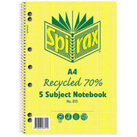 SPIRAX 815 70% RECYCLED NOTEBOOK 5-SUBJECT NOTEBOOK SPIRAL BOUND 250 PAGE A4