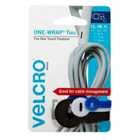 VELCRO BRAND ONE-WRAP CABLE TIES ASSORTED COLOUR AND SIZE PACK 3