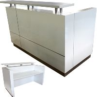 HUGO RECEPTION COUNTER 1800 X 950 X 1150MM WHITE