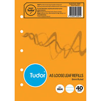 TUDOR R64 LOOSE LEAF REFILL PAPER 5 HOLES 6MM RULED 80 PAGE A5 WHITE