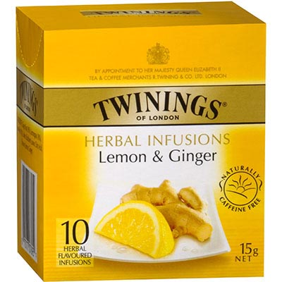 Image for TWININGS TEABAGS LEMON AND GINGER PACK 10 from Mitronics Corporation