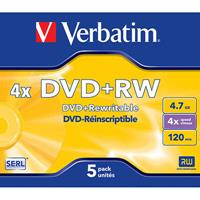 VERBATIM REWRITABLE DVDRW 4.7GB 4X PACK 5
