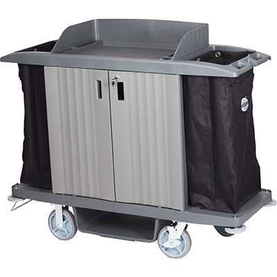 Image for COMPASS HARD FRONT HOUSEKEEPING TROLLEY WITH DOORS GREY from SBA Office National