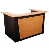 OXLEY RECEPTION COUNTER 1800 X 1160 X 1090MM BEECH/IRONSTONE