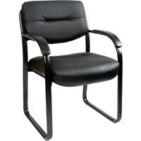 YS DESIGN CLIENT VISITOR CHAIR MEDIUM BACK LEATHER BLACK