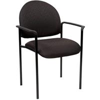 YS DESIGN STACKING VISITORS CHAIR MEDIUM BACK WITH ARMS BLACK
